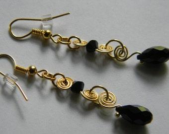 Crystal Spiral Wire Earrings