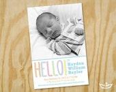 Hello Birth Announcement Printable