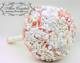 Brooch bouquet. Ivory - peach  coral brooch bouquet. Pearl Bouquet