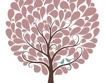 Wedding Guest Tree With 105 Signature Shapes - 16x20 - Wedding Tree - Wedding Guest Book Alternative