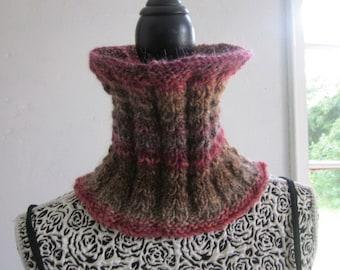 Knitted Cowl Autumn Colored Yarn Handmade, Wool Acrylic Yarn, Neck Warmer, Tube Scarf, One size, Handmade,