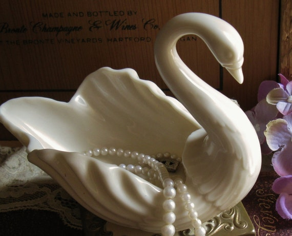 Lenox Wedding Gifts: 1950s Lenox Swan Salt Bridal Registry Gift Bone By