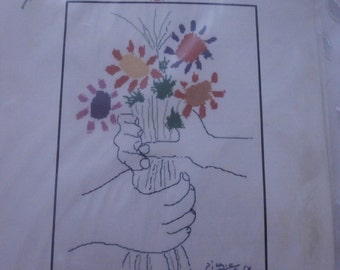 """Hand Made, Unframed Cross Stitch- Picasso's"""" Hands with Bouquet""""- Art, Picasso, Flowers, Hands, Art Deco, Abstract"""
