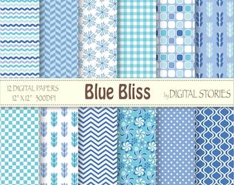 Blue Floral Digital Scrapbook Paper Pack - Blue Bliss