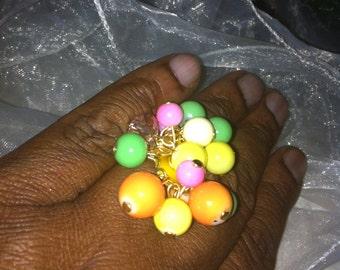 Pastel beaded ring