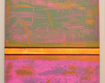 Original Abstract Acrylic Painting Oranges Green Pink Magenta Yellows Expressionist 16 x 20 by Ann Langlois