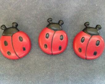"Ladybug buttons. Set of 3 ladybug buttons. Size 1"" (25mm)"