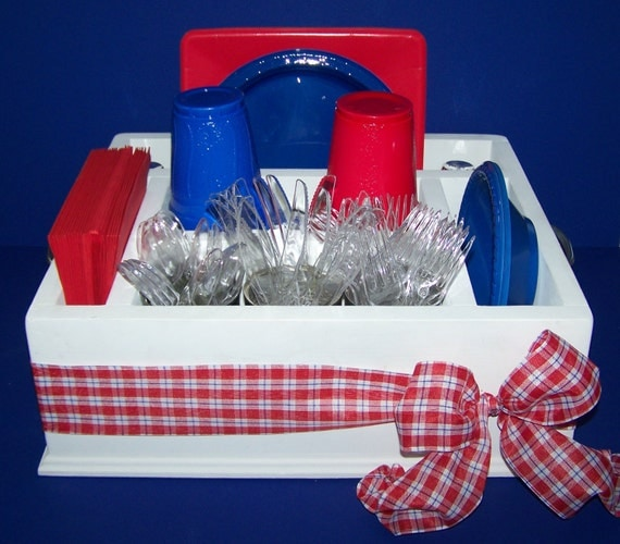 Picnic time themed party tableware utensil holder caddy for Table utensils