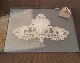 Antique French Medallion in Double Sided Glass Frame