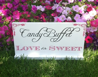 Candy Bar Sign - Wedding Sign - Love is Sweet - Wedding Signage -- Custom Wood Sign -- Photo Prop