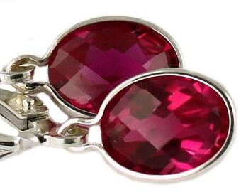 Created Ruby, 925 Sterling Silver Leverback Earrings, SE001