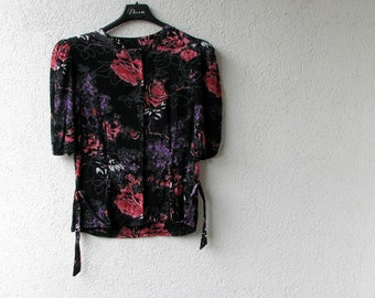 vintage Crop top Floral shirt sleeve peasant chic clothing small Medium
