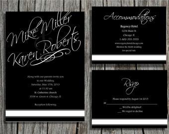 Printable wedding invitations, Black and white in elegant script digital file pdf jpeg