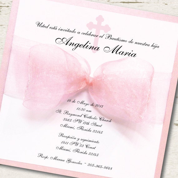 Spanish Girl Baptism Invitation Christening Pink Ribbon Spanish