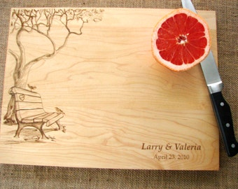 Custom Cutting Board with Tree and Birds Couple's Anniversary Gift Wedding Present Bridal Shower Gift