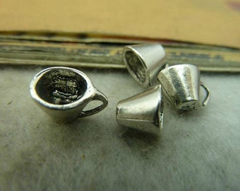 15pcs 6x7x9mm  Antique Silver  Coffee Cup Charms Pendant Cup