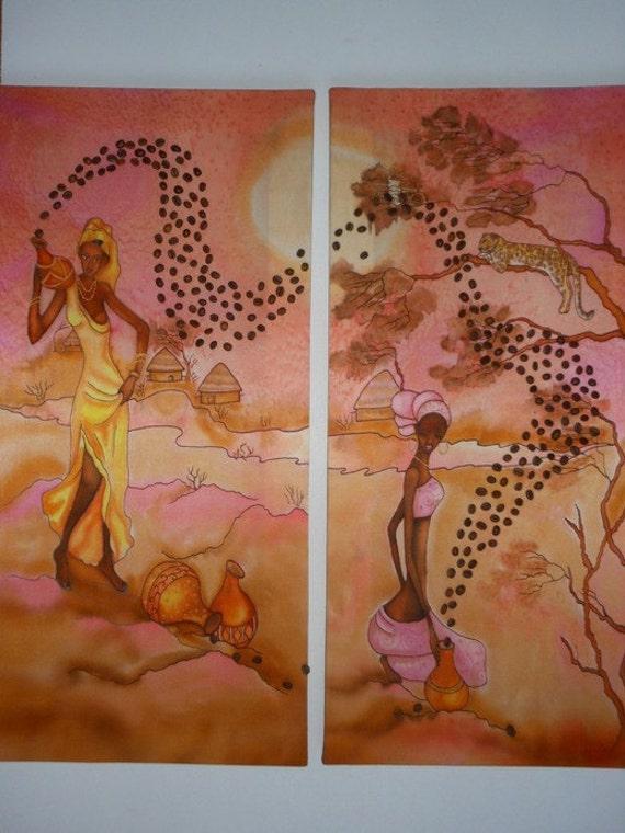 Peinture afrique sur soie tableau diptyque sur la soie for Peinture sur soie facile