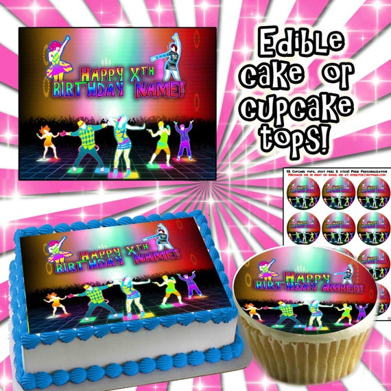 Personalized CAKE Just Dance Wii edible birthday cupcakes - Sugar icing frosting sheet picture photo