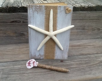 Personalized beach wedding guest book and pen, nautical wedding book, sea side wedding starfish wedding decor