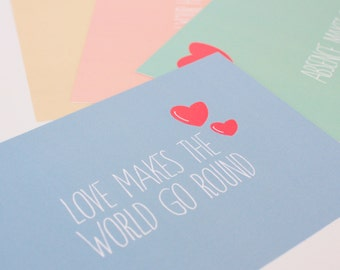 Love Quote cards Notecard with Hearts