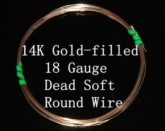 18 g ga Gauge 14k Gold-Filled Wire - Round - Dead Soft - sold by 6 inches increments (RW1802GF)