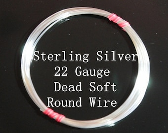 22 g ga Gauge Sterling Silver Wire - Round - Dead Soft - sold by one foot increment (RW2202SS)
