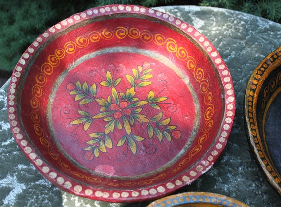 Paper Mache Plates Hand Made And Painted Decorative Plates