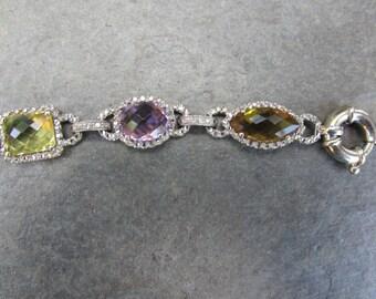 Estate Vintage 14 KT White Gold Halo Gemstone Link Toggle Clasp Bracelet Amethyst Topaz Quartz