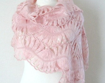 Pink bridal shawl - Filigree mohair shawl Crochet shawl - Powder pink shawl