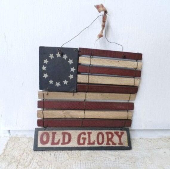 Americana Wall Decor Plaques Signs: Vintage American Flag Sign Decor Wall Hanging USA AMERICANA