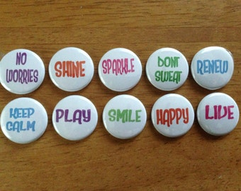 Inspirational Word Buttons Set of 10 Pinback Buttons