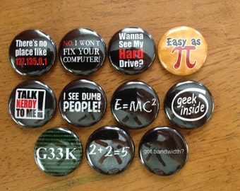 Geek Buttons Pinback Buttons Set of 11 Geekery, Gifts for Geek