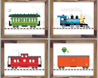 Four Train Prints 12 x 16 Art for Boys Room