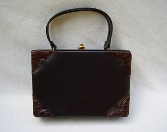 "VINTAGE 1950's ""MURRAY KRUGER""  Rich Chocolate Brown Leather Handbag Box Purse. A Beauty."
