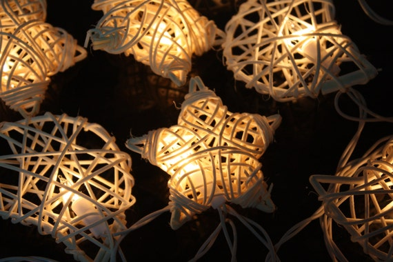 20x Star and Moon White Rattan ball string light for home decoration
