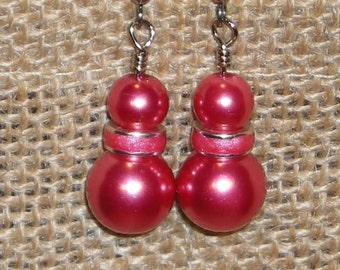 Raspberry Glass Pearls and Swarovski Raspberry Spacer Dangle Earrings