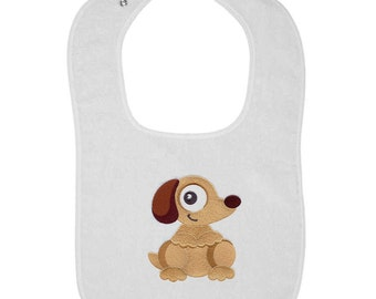 Wide-Eyed Dog Embroidered Terry Cloth Bib