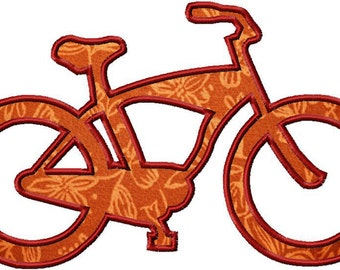 INSTANT DOWNLOAD Cruiser Bike Bicycle Machine Embroidery Design Includes Raggy Applique, Satin Applique and Also Filled Stitch