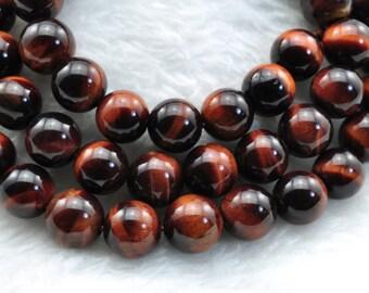 Red Tiger Eye smooth round beads 8mm,47 pcs
