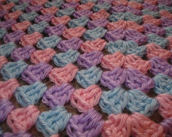 Crochet Baby Blanket or Lap Blanket / Pink/Blue/Purple Granny Square / Baby Shower Gift / Gift for Baby / Ready to Ship