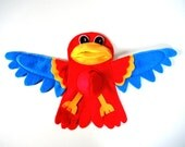 Parrot Hand Puppet Red Turquoise Blue Yellow KidsToy Parrothead Jimmy Buffet Pirate Bird Eco Friendly Childs Animal Tree Topper Holiday Gift