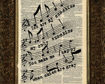 You Are My Sunshine, Music Measure, Dictionary Print, dictionary Art, Book Art, wall Decor, Wall Art Mixed Media Collage, Gift