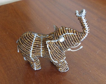 African Beaded Wire Animal Sculpture - ELEPHANT SMALL - Brown