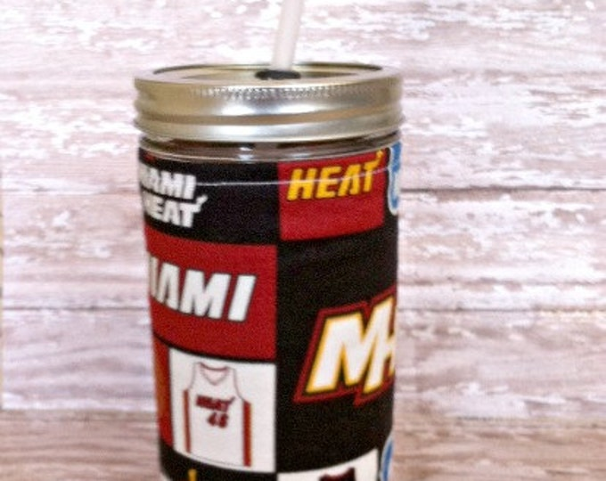 Mason Jar Tumbler 24oz Miami Heat NBA BPA Free Swirl Straw - Travel Mug Great Gift