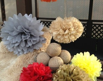 Set of 10 tissue paper pom poms-party poms-tissue poms-rustic pompoms-pompoms-pom -poms-hanging poms-paper balls-paperflower,baby shower