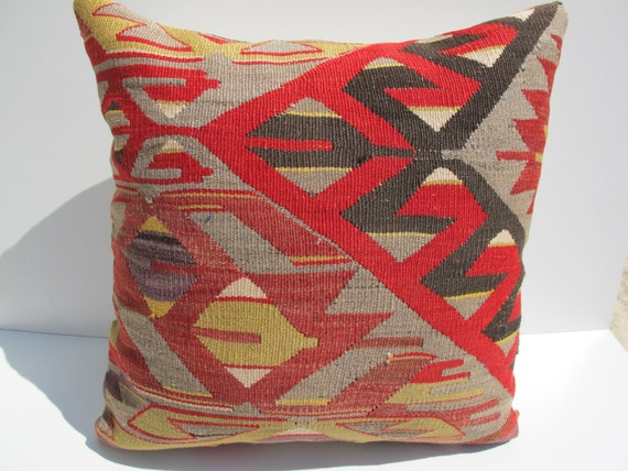 "Modern Bohemian Home Decor,Turkish Kilim Pillow Cover 19.6"" x 19.6"""