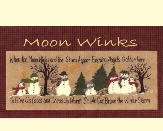 Moonwinks Wool Applique Pattern By Beth Ritter For