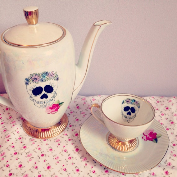 Sugar Skull Rose Teacup & Saucer