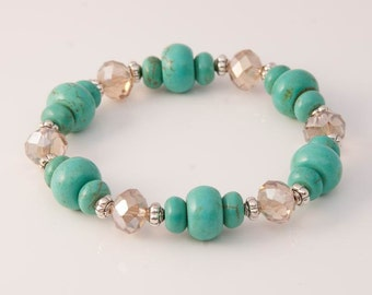 Green Magnesite Stretch Bracelet