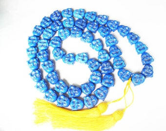 Buddhism Turquoise 40inch 54 Smile Blue Buddha Beads Prayer Mala Necklace ZL1076